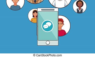 People and smartphone chat HD animation - Smartphone chat...