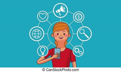 People and social networks HD animation - Young woman with...