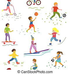 People and sport seamless pattern - funny