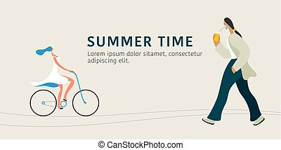 People and summer activities vector illustration. Modern style flat characters
