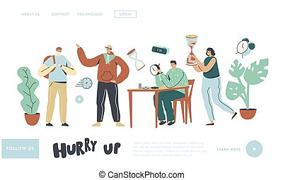People and Time Landing Page Template. Characters with Clock. Master Repair Broken Watch in Workshop, Student Hurry Up