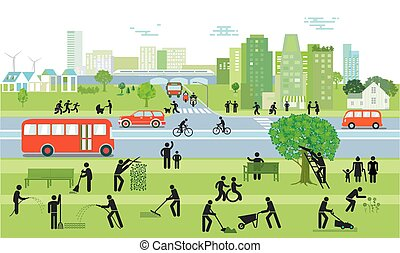 People and traffic in the city.eps