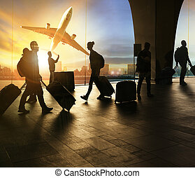 people and traveling luggage walking in airport terminal and...