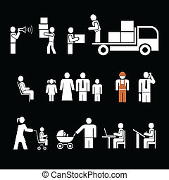 People Ar Work - Set Of Vector Icon