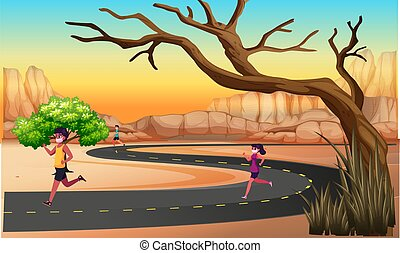 people are running on the road in desert area