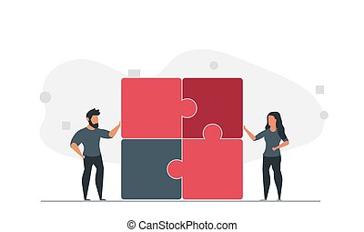 People are trying to solve the puzzle together. Man and woman team solve problem together vector illustration