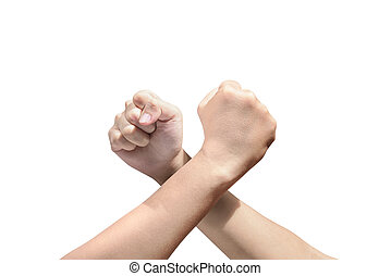 People arm-wrestling isolated over white background