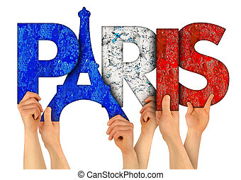 people arms hands holding up wooden letter lettering forming word Paris capital city of france in french national flag colors tourism travel nation concept isolated white background
