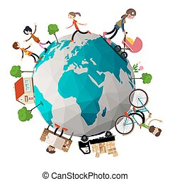 People Around Earth Vector