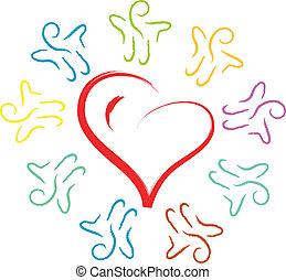 people around heart