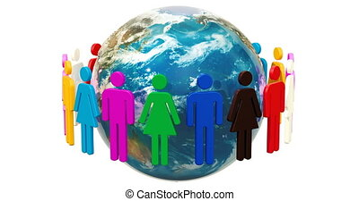 People around the Earth Globe animation. 3D rendering isolated on white background
