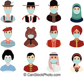 People around the world countries in national clothes put on a masks - poster, quarantine, coronavirus. Illustrations concept coronavirus COVID-19. virus wuhan from china. Vector illustrate.