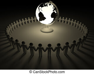 People around the world - Earth globe surrounded by people...