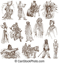 People around the World (pack no.9) - Collection of an hand drawn illustrations. Description: Full sized hand drawn illustrations drawing on white background.