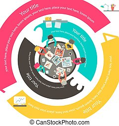 People Around Top View. Vector Modern Infographic Business...