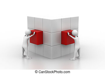 People arrange box.(Teamwork concept)
