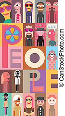 "People. Art composition of different people. Graphic design with text ""People"". Vector illustration."