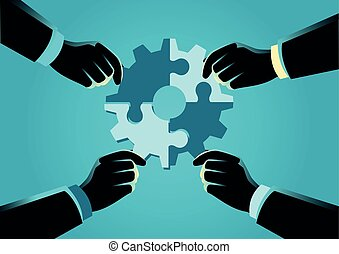 People assembling jigsaw puzzle forming a gear