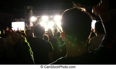People at a rock concert, slow-motion