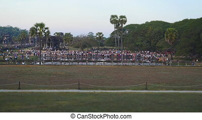 People at Angkor Wat to view the sunrise