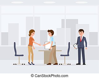 People at business meeting negotiation cartoon character