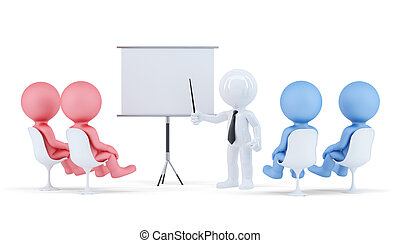 People at conference. Business concept Isolated. Contains clipping path of scene and board.