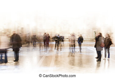 People at exhibition - A croud of people in a museum or at ...