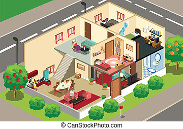People at home - A vector illustration of people doing ...