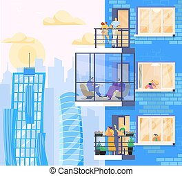 People at home, enjoy city view from modern apartments in skyscraper, vector illustration