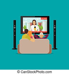 People at home watching city news on tv. Concept vector illustration in flat style design