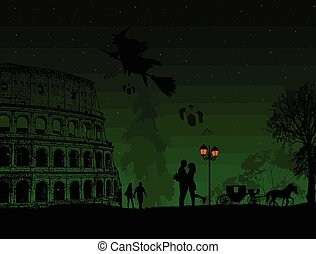 People at night in Rome with witch Befana sitting on a broomstick