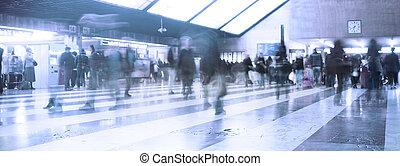 People at railway station
