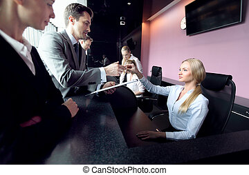 People at reception