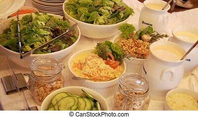 People At Salad Buffet