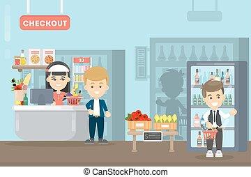 People at supermarket.