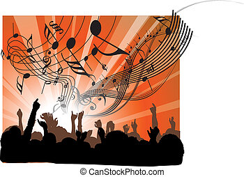 People at the concert - heads and hands on red background
