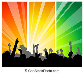 People at the concert - with colorful background