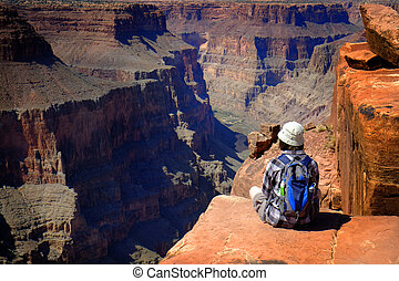 People at the North Rim of Grand Canyon Gorge - People at...