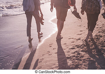 people at the seashore in sunset