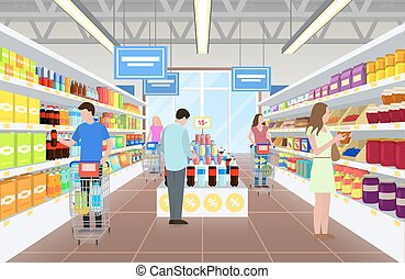 People at the Supermarket on Vector Illustration