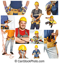 people at work, collage picture of different manual workers