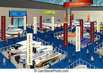 People Attending Boat Show Illustration - A vector...
