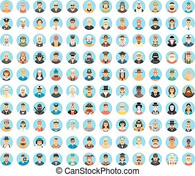 People avatar collection. Flat circle icons of people, occupations, works. People portraits, cartoon people, people lifestyles. Human role. People society.