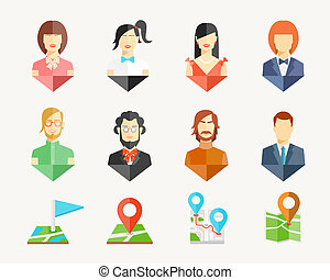 People avatar pins - Vector people men and women avatar pins...