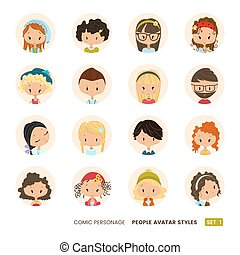 People avatars collection. Set of Hipster avatar icons. Comic personages