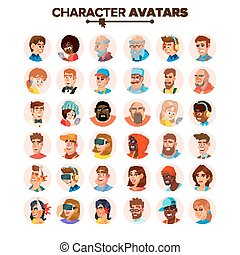 People Avatars Collection Vector. Default Characters Avatar. Cartoon Flat Isolated Illustration
