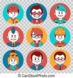 People avatars collection.Professions vector flat...