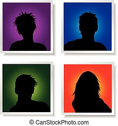 People avatars on brightly coloured backgrounds