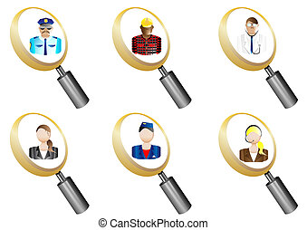 People Avatars magnifying glass