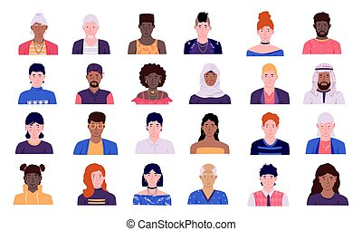 People avatars. Men and women cartoon character icon collection, male and female person heads with shoulders front view user profile portrait vector doodle different race simple style set